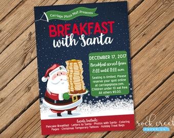 Breakfast with Santa Invitation, Photos with Santa Invitation, Pancakes with Santa, Santa Photos, Printable Event Invitation