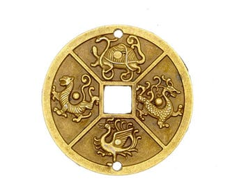 1 Antique Bronze 4 Chinese Animal Luck Coin Connector - 3-48