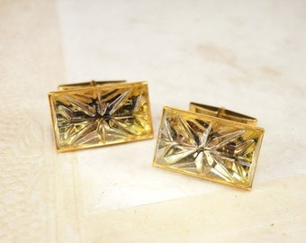ON SALE Vintage Gold Cufflinks with Glass Cobochone