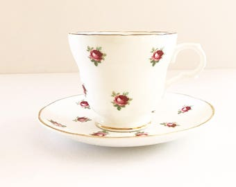 Vintage Tea Cup / Antique - with Red Roses / Floral Tea Cup / Gold Trim ~ Made in England~ Cup & Saucer~Fine Bone China ~ Crown Trent