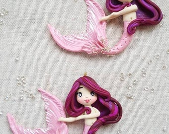 Mermaid with pink tail charm/pendant