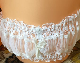vintage 50's sheer pleated nylon white  garter burlesque sissy bride