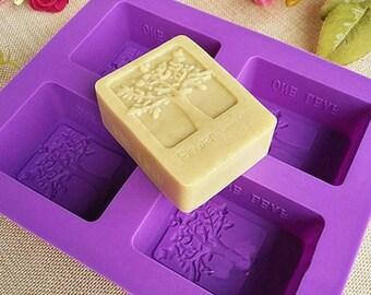 DIY Homemade Soap Mold Silicone Cake Mold Rectangular Tree Mold Four-hole Soap Mold Candle Maker