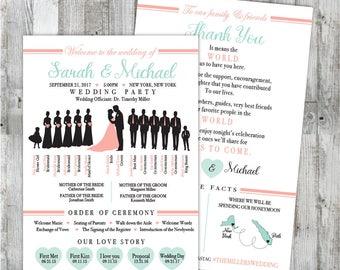 Infographic Wedding Program Design with Wedding Party Silhouettes,  Modern Elegant Unique Creative Wedding Program, DIY Printable Program