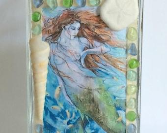 Sea Glass Art,  Mermaid Art, Decorative Bottle, Nautical Decor, Mermaid Decor, Sea Glass Bottle, Mermaid Bottle, Coastal Decor