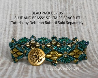 Bead Pack BB-185 Blue & Brassy Solitaire Bracelet, Tutorial by Deb Roberti Sold Separately, BB185 Blue Brassy Solitaire w Tree of Life Clasp