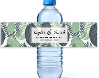 Wedding Water Labels -Wedding Favors -Custom Water Bottle Labels Wedding-Waterproof Labels -Wedding Water Bottles - Beach Wedding - Tropical