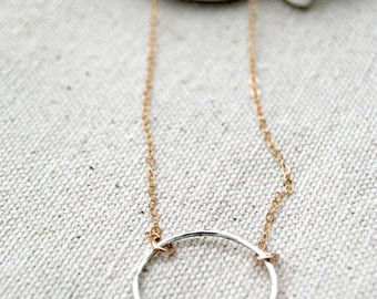 CIJ SALE** choate... mixed metal eternity necklace / sterling silver eternity circle & 14k gold filled chain necklace / infinity / eterna...