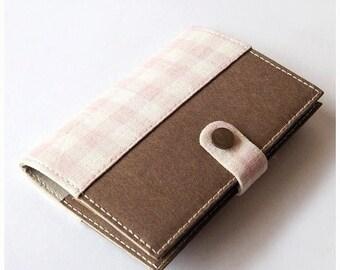 SALE 20% Pink Checked Washable Kraft Paper Passport Holder, Passport Cover, Passport Case, Travel Wallet for 2 Passports