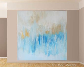 Large Modern Abstract Original Art Gold Metallic Blues Beige Expressionist Canvas DIY Decorative Home House Room Bedroom Office Print Signed