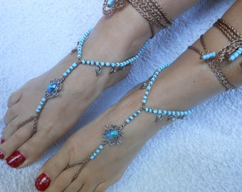 Crochet Barefoot Sandals Beach Wedding  Yoga Shoes Foot Jewelry Blue