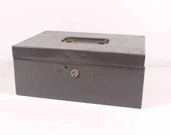 Art Steel Co Steelmaster Metal Cash Box - Vintage Metal Lock Box