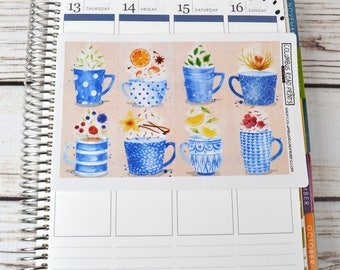 Full Box TEA TIME planner stickers, tea cups, watercolor art, full box art stickers, tea cup stickers, herbal teas