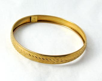 Vintage 9ct Gold Bangle, Gold Diamond Cut Bangle, Etched Bangle, Round Bangle, Gold Bangle, Slim Gold Bangle, 9mm Bangle