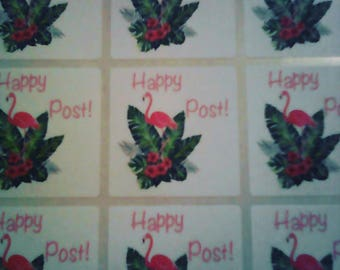 happy post stickers - Flamingo