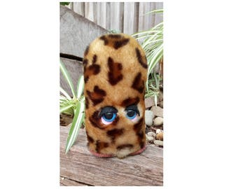 Classic Leopard,GONK,approx 16 cms tall,GONKS,are Hand made and Crafted,with safety eyes,felt