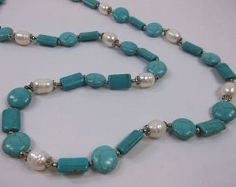Old Stock - Tarnishing Closure - Beautiful Teal and Pearl Necklace - Free Shipping