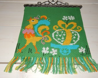 Swedish hand embroidered wall hanging 1970s / girl / chickens / sun