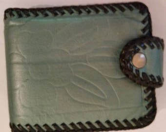 Vintage Wallet Turquoise Leather Whip Stitch Edges 1960's Boho Billfold Floral Stamped Design Coin Section Folding Money Section