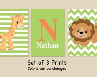 Personalized Jungle Animals Nursery Wall Art - Set of 3 Prints- Giraffe - Lion - Safari Nursery Prints - Baby Nursery -Colors can be changed