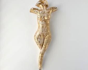 Metal sculpture, Sexy nude metal torso, wire mesh sculpture, abstract art, metal wall art, figure sculpture