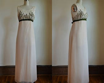 1960s Cream & Green Sequin and Chiffon Empire Waist Gown