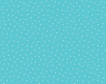 Aqua Dot Fabric Glamper Dots in Aqua for Riley Blake by Samantha Walker Glamper-licious Polka Dot Quilt Picnic Blanket Blue and White Fabric