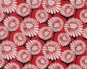 Red Floral Fabric Gathering Rosa by Amy Reber for Free Spirit Fabric Posy Collection Red and Black Fabric Modern Floral Fabric