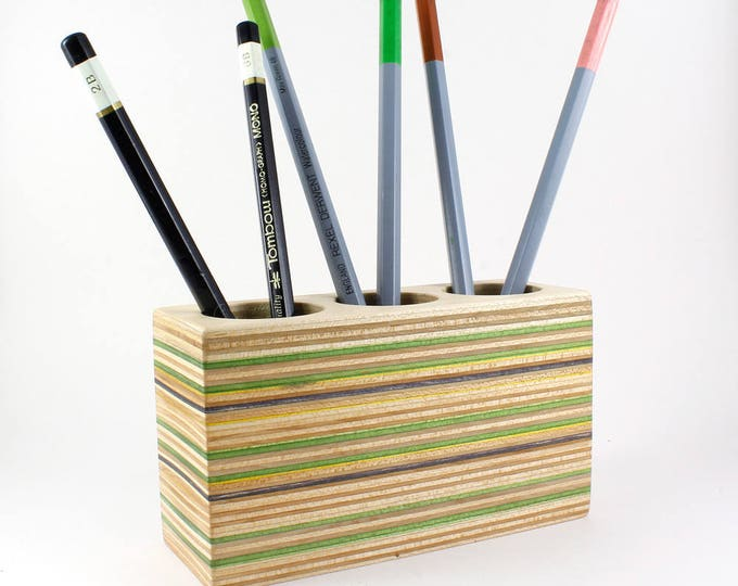 Minimalist Pencil Holder made from Recycled Skateboards