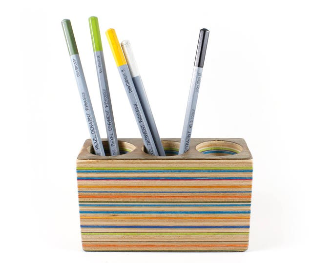 Recycled Skateboard Pencil Holder, Desk Organizer, Triple
