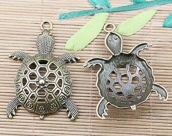 6pcs antiqued bronze color hollow turtle design pendant EF2442