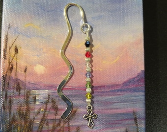 Salvation Bookmark  Christian Gift Sunday School Teacher gift Shower favors  Wavy silvertone bookmark with crystals with small cross 193B