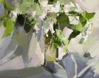 Small Oil Painting, Floral artwork, Flowers oil canvas art, Abstract floral painting, Green and white