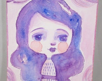Mixed Media Watercolor Girl Purple and Pink by Ceville Designs