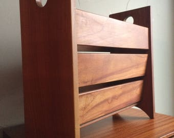 Vintage Mid Century Modern Danish Teak newspaper rack all teak