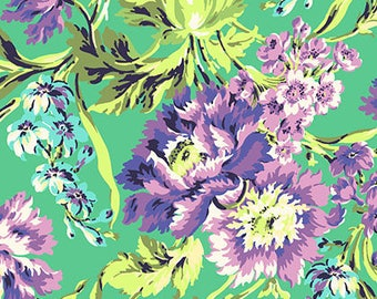 Amy Butler Fabric - Bliss Bouquet in Emerald - Love Collection - 100% cotton fabric by the yard - Designer quality floral print