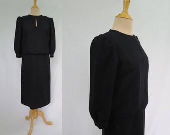 Black Wool Dress  - 1980s