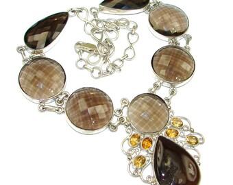 Smoky Topaz, Agate Druzy, Citrine Sterling Silver Necklace - weight 92.50g - dim 2 3 8 inch - code 11-lis-15-26
