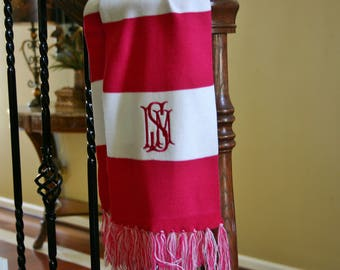 Reduced for Christmas season only - Monogrammed Scarves, Christmas Gift, Personalized Scarves, NEXT-DAY SHIPPING