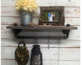 ON SALE Pipe Shelf, pipe shelves, industrial shelf, industrial decor, rustic wood shelf, wall shelf rack, industrial decor, home decor