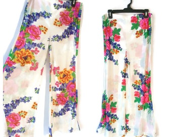 "Bell Bottoms 1970s Floral Pants slacks size Medium 30"" waist Womens flowers"