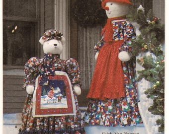 A Pattern to Create Snowlady w/ Dress, Hat, Apron and Scarf & Polar Bear w/ Dress, Hat, Petticoat, Scarf and Apron - Uncut ~ Simplicity 7882