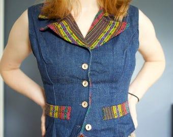 70's Denim rainbow vest