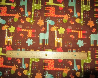33 x 44 Inches Brown Giraffee Cotton Fabric Remnant