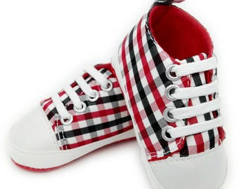 Baby Toddler shoes- Plaid girls soft walkers- Crib shoes- - Canvas High tops