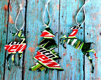 Recycled Mt Dew Soda Can 3-Piece Christmas Ornament Set