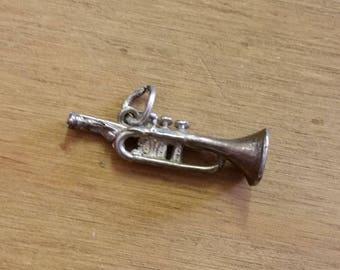 Vintage Sterling Silver Trumpet Bracelet Charm