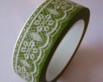 """SALE Washi Tape """"Green Lace""""   15mm x 10 Meters"""