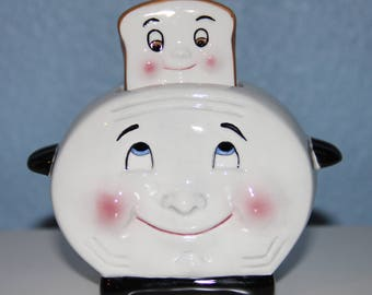 Toaster and Toast Salt and Pepper Shaker Set by Clay Art - Anthropomorphic - Ceramic
