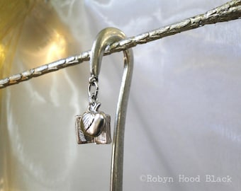 Apple and Book Pewter Bookmark for Teachers